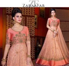 Peach color astonishing designer salwar kameez combination of quality materials and classic designs. Order this ladies shalwar suits for festival and wedding occasions at low price. #indiandresses #salwarkameez #ethnic #partywear #picoftheday #bollywoodstyle #shadiseason #festivewear