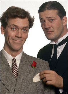 Hugh Laurie & Stephen Fry as Jeeves and Wooster. Such a delightful telly adaptation of the funniest and most joyous novels ever written!
