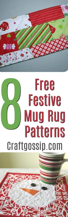 8 Free Quilted Christmas Mug Rug Patterns These quilting patterns are all free and are all for mug rugs. What is a mug rug? A fancy name for a small placemat. All of these mug rugs have a Christmas theme and most of them are suitable for … Fun Christmas, Quilted Christmas Gifts, Christmas Mug Rugs, Christmas Sewing, Quilted Gifts, Christmas Things, Crochet Christmas, Christmas Projects, Christmas Decorations