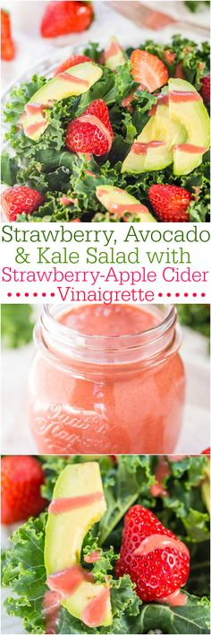 Strawberry, Avocado, and Kale Salad with Strawberry-Apple Cider Vinaigrette - Make a kale lover out of anyone in this healthy salad with creamy avocado and juicy berries! Maybe I could do a baby spinach strawberry avocado salad. Healthy Salad Recipes, Raw Food Recipes, Healthy Snacks, Vegetarian Recipes, Healthy Eating, Cooking Recipes, Kale Recipes, Cooking Tools, Think Food