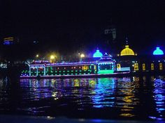 Riverboat lights at night