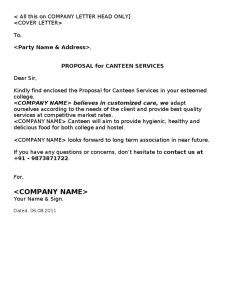 business proposal sample   catering template   Business proposal