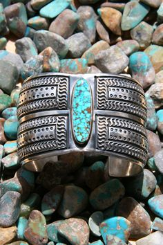 Substantial Turquoise Hand Stamped Wide Cuff   Silver Eagle Gallery