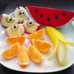 Felt patterns - fruits slices patterns set - apple, orange, banana, watermelon (felt patterns and tutorials via email)