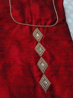 #pintrest@Dixna deol Salwar Neck Designs, Churidar Designs, Kurta Designs Women, Dress Neck Designs, Hand Embroidery Dress, Kurti Embroidery Design, Embroidery Neck Designs, Embroidery Suits, Mirror Work Blouse