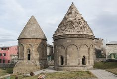 View of two tomb towers at Üç Kümbetler in Erzurum, Turkey https://archnet.org/sites/6034/media_contents/128090 Historic Architecture, Middle East, Barcelona Cathedral, Taj Mahal