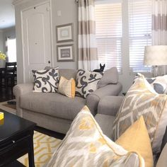 Gray Blue Yellow Liking This For The New Living Room