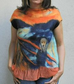 Nuno felt blouse wool painting The Scream Edvard Munch