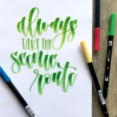 """( : """"The Pantone color of the year, this gorgeous green! Love my Tombow Dual Brush Pens! Brush Lettering Quotes, Doodle Lettering, Creative Lettering, Lettering Design, Typography, Handwritten Quotes, Calligraphy Qoutes, Modern Calligraphy, Tombow Markers"""