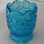 Beautiful LE Smith Glass Daisy and Button Toothpick Holder in Blue Turquoise