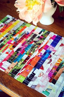 de roze bank: Repurposed placemats