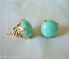 Vintage Estate 14k Yellow Gold Turquoise Earrings Studs Posts Southwestern | eBay