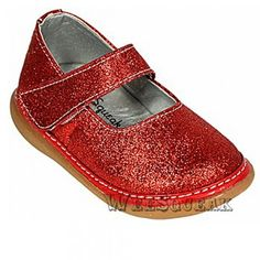 Wee Squeak Baby Toddler Girl Red Sparkle Maryjane Shoes 3-12