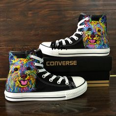 68c7b3e1f612cd Colorful Graffiti Dog Original Hand Painted Converse All Star Shoes Man  Woman
