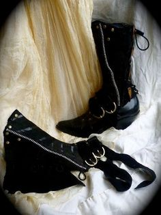 dark elf black leather spats. black boots. brass and by ulantia