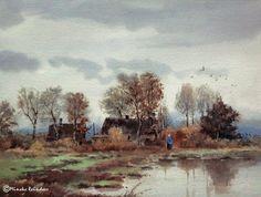 In the autumn of our lives Ömürlerimizin sonbaharında  In de herfst van ons leven Watercolor, 11x15 inches Location: Groningen province/imagination 101115
