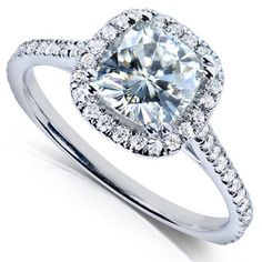 Annello 14k White Gold Moissanite and 1/4ct TDW Prong-set Diamond Engagement Ring (G-H, I1-I2)   Overstock.com Shopping - The Best Prices on... 713.69