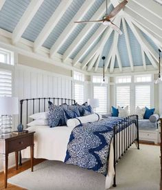 Southern Studio Interior Design - Spacious Beach House Bedroom – Love the blue ceiling. Beach House Bedroom, Beach House Decor, Home Bedroom, Master Bedroom, Home Decor, Beach House Interiors, Beach Houses, Seaside Bedroom, Cottage Interiors