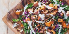 Roasted Sweet Potato Kale Salad with Mustard Dill Vinaigrette