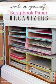Craft Room Organization Diy Scrapbook Paper Ideas For 2019 Scrapbook Paper Organization, Craft Paper Storage, Diy Storage Boxes, Diy Scrapbook, Diy Organization, Storage Ideas, Diy Organizer, Scrapbook Rooms, Scrapbooking Ideas