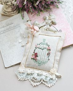 Embroidery Monogram, Rose Embroidery, Silk Ribbon Embroidery, Embroidery Applique, Embroidery Stitches, Machine Embroidery, Embroidery Designs, Lavender Crafts, Shabby Chic Crafts