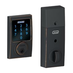 $162 Schlage BE469NXCEN716 Century Touchscreen Deadbolt with Nexia Home Intelligence and Alarm, Aged Bronze (Z-Wave) Schlage Lock Company,http://www.amazon.com/dp/B00CNEE7PU/ref=cm_sw_r_pi_dp_U6Wutb1EN97NPVFG