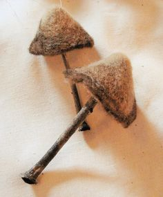 Needle Felted Mushroom Ornament Set of 2 by FeltedByRachel on Etsy