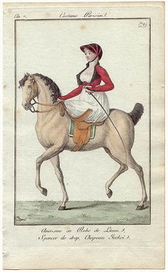 Journal des Dames et des Modes, 1798. Note the side saddle.  Guess this is a horsey kind of day!  I really adore her spencer- the buckle is a nice element.