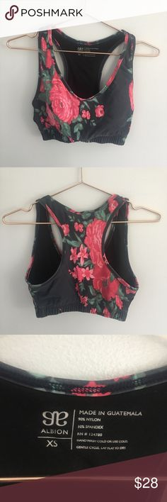 Albion Fit Antigua pink floral sports bra Adorable floral sports bra from Albion Fit. Check out the matching workout leggings! In good pre-loved condition.   Retail: $42  Size: XSmall  90% nylon 10% spandex  *smoke free house Albion Intimates & Sleepwear Bras
