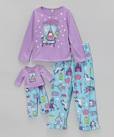 Look what I found on #zulily! Lilac & Blue Pajama Set & Doll Outfit - Toddler & Girls by Dollie & Me #zulilyfinds