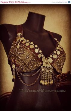 Belly Dance Bra- Turkish Delight- 36D or 38D- Tribal, Tribal Fusion, ATS, Coins, Kuchi Buttons, Brown, Pearls