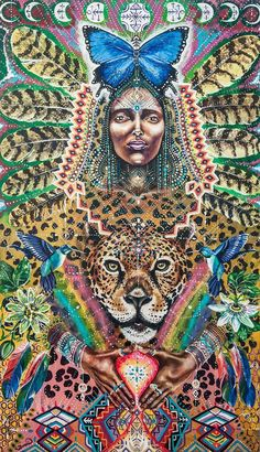 Viva Medicine Woman Humming Bird Moon Jaguar by MariposaGalactica Morpho Bleu, Blue Morpho, Psychedelic Art, Black Women Art, Black Art, Papillon Morpho, Art Colibri, Jaguar, Art Visionnaire