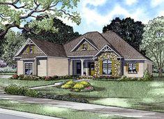 House Plan 61321   Craftsman European Tudor Plan with 2405 Sq. Ft., 4 Bedrooms, 3 Bathrooms, 3 Car Garage
