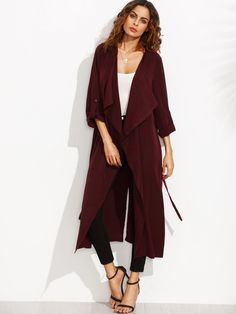 Burgundy Lapel Rolled Up Sleeve Split Long Outerwear -SheIn(Sheinside)