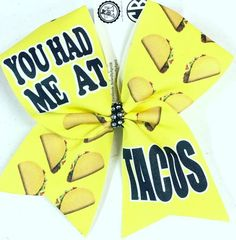 Bows by April - You Had Me At Tacos Sublimated Cheer Bow, $15.00 (http://www.bowsbyapril.com/you-had-me-at-tacos-sublimated-cheer-bow/)