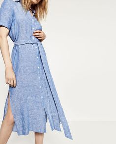 great linen dress with self belt to create some shape