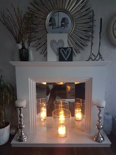 Fake fireplace mantel, christmas fireplace, home fireplace, fireplace inser Fake Fireplace Mantel, Christmas Fireplace, Fireplace Screens, Fireplace Inserts, Fireplace Mantle, Fireplace Design, Fireplace With Candles, Fireplace Ideas, Small Fireplace