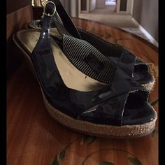 Navy Patent Wedges by Tommy Hilfiger SALE!⬇️ Cute and Comfy wedges!SALE! Tommy Hilfiger Shoes