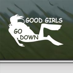 Amazon.com - Good Girls Go Down White Sticker Scuba Dive Diver Laptop Vinyl White Decal - Decorative Laptop Skin Decals