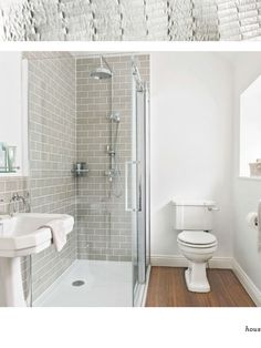 This en suite shower room has been given a retro look with metro tiles and classic bathroom fittings. Loft Bathroom, Bathroom Grey, Ensuite Bathrooms, Upstairs Bathrooms, Family Bathroom, Downstairs Bathroom, Bathroom Renos, Small Bathroom, Bathroom Ideas