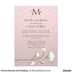 Cotton Damask 2nd Wedding Anniversary Card