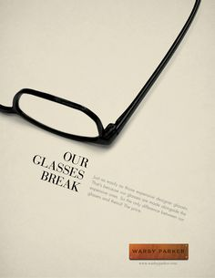 Designed by Maxwell Billings, student ad concept for Warby Parker