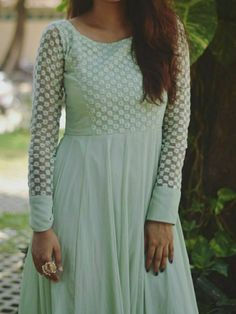 Discover recipes, home ideas, style inspiration and other ideas to try. Salwar Neck Designs, Churidar Designs, Kurta Neck Design, Kurta Designs Women, Dress Neck Designs, Sleeve Designs, Long Gown Dress, The Dress, Long Dress Design