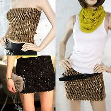 Sexy Womens Stretch Elastic Tube Top Sequin Mini Skirt Club Party Black & Gold