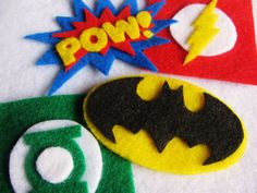 Felt Superhero Super Set of Pins or Hair by TheWannaBeCrafter