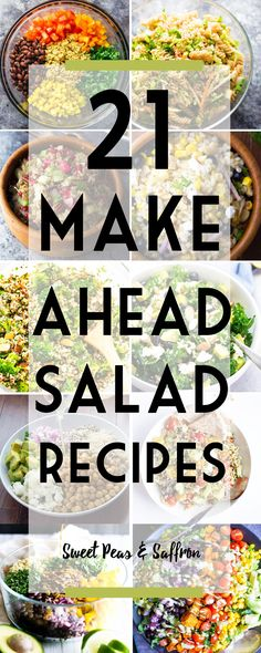 21 make ahead salads that are perfect for meal prep.not to mention tasty, healthy, and packed full of veggies! Perfect to prep ahead and eat all week. Make ahead salads for lunches, make ahead salads for the week. Make Ahead Salads, Healthy Salads, Healthy Lunches, Healthy Recipes, Healthy Eating, Skinny Recipes, Healthy Foods, Lunch Meal Prep, Meal Prep Salads