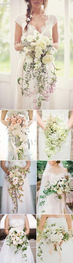 Romantic Cascade Trailing Wedding Bouquets