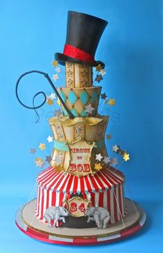 The first of our circus cakes for the week! A four foot tall birthday vintage circus cake for Bob! That's a lot of cake :) Pretty Cakes, Cute Cakes, Beautiful Cakes, Amazing Cakes, Take The Cake, Love Cake, Unique Cakes, Creative Cakes, Bolo Minion