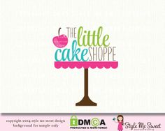 Cute how it's arranged. Premade Bakery Logo Cake Stand Logo Small by stylemesweetdesign, $45.00