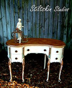 This would make an adorable vanity with a mirror attached. Colorful Dresser, French Decor, Painted Vanity, Shabby Chic Dresser, Painted Furniture, Teal Furniture, Recycled Furniture, Furniture Inspiration, Vintage Cabinets